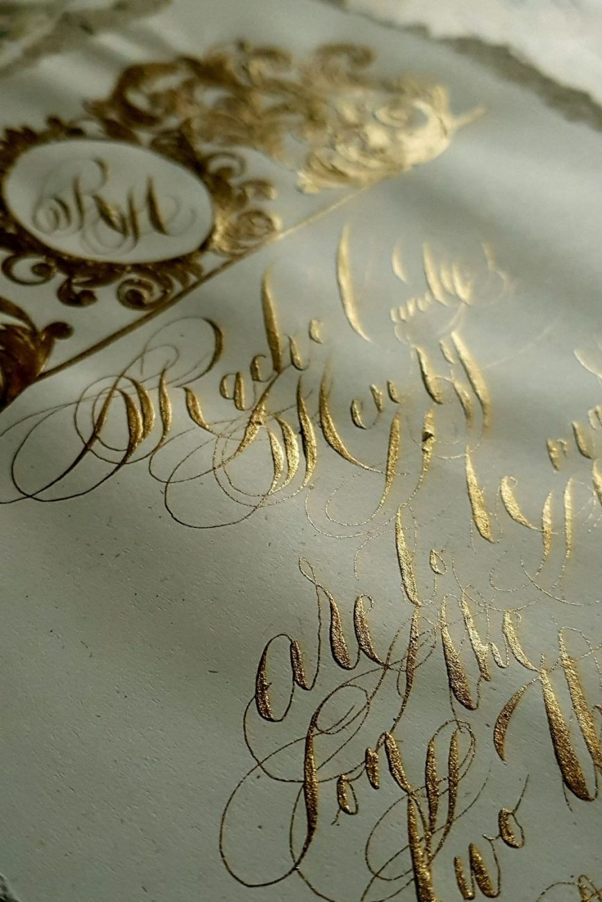Calligraphy wedding stationery and luxury invitations French vintage baroque style crest design