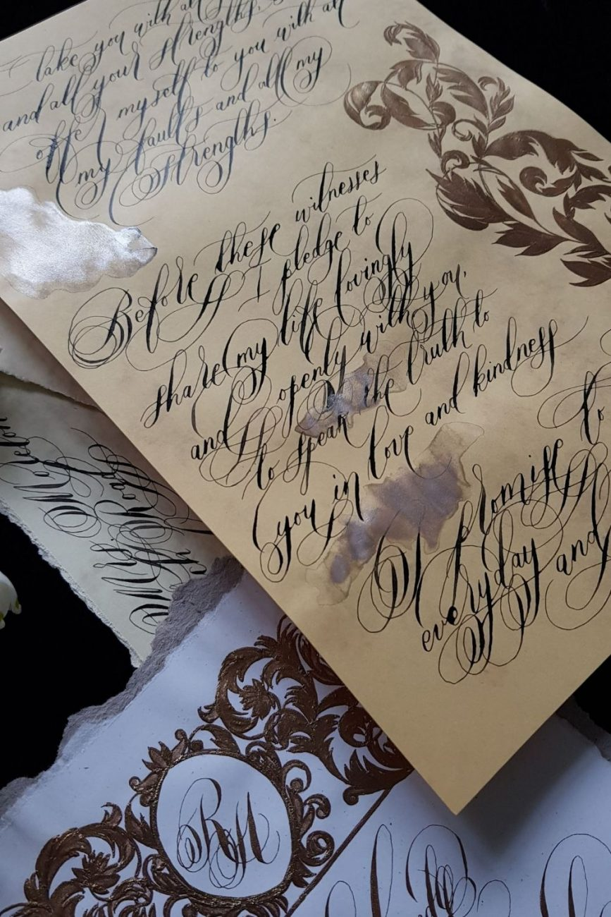 Deep caramel and rich bronze, custom designed and hand made, luxury wedding vows for heirloom keepsake pieces
