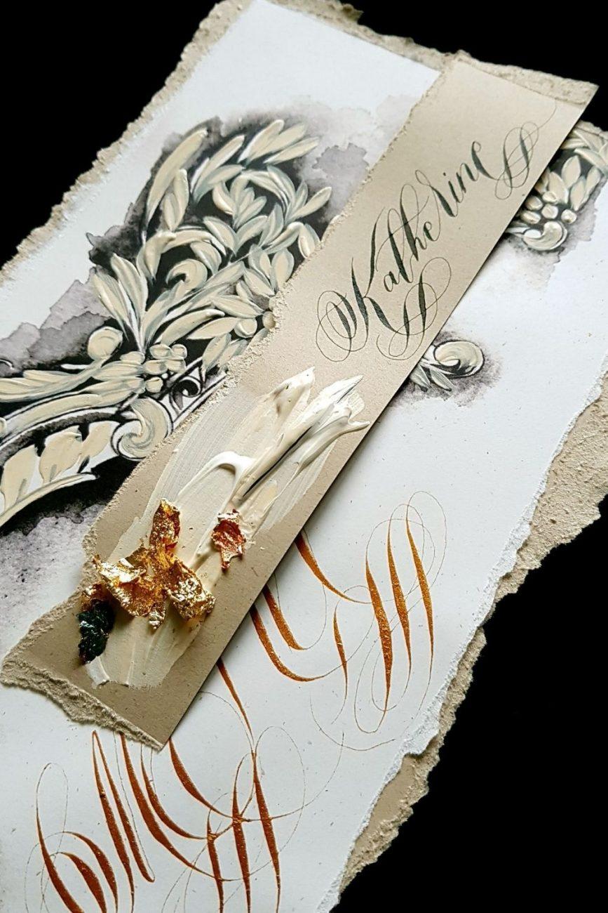 Hand painted artistic wedding menu design
