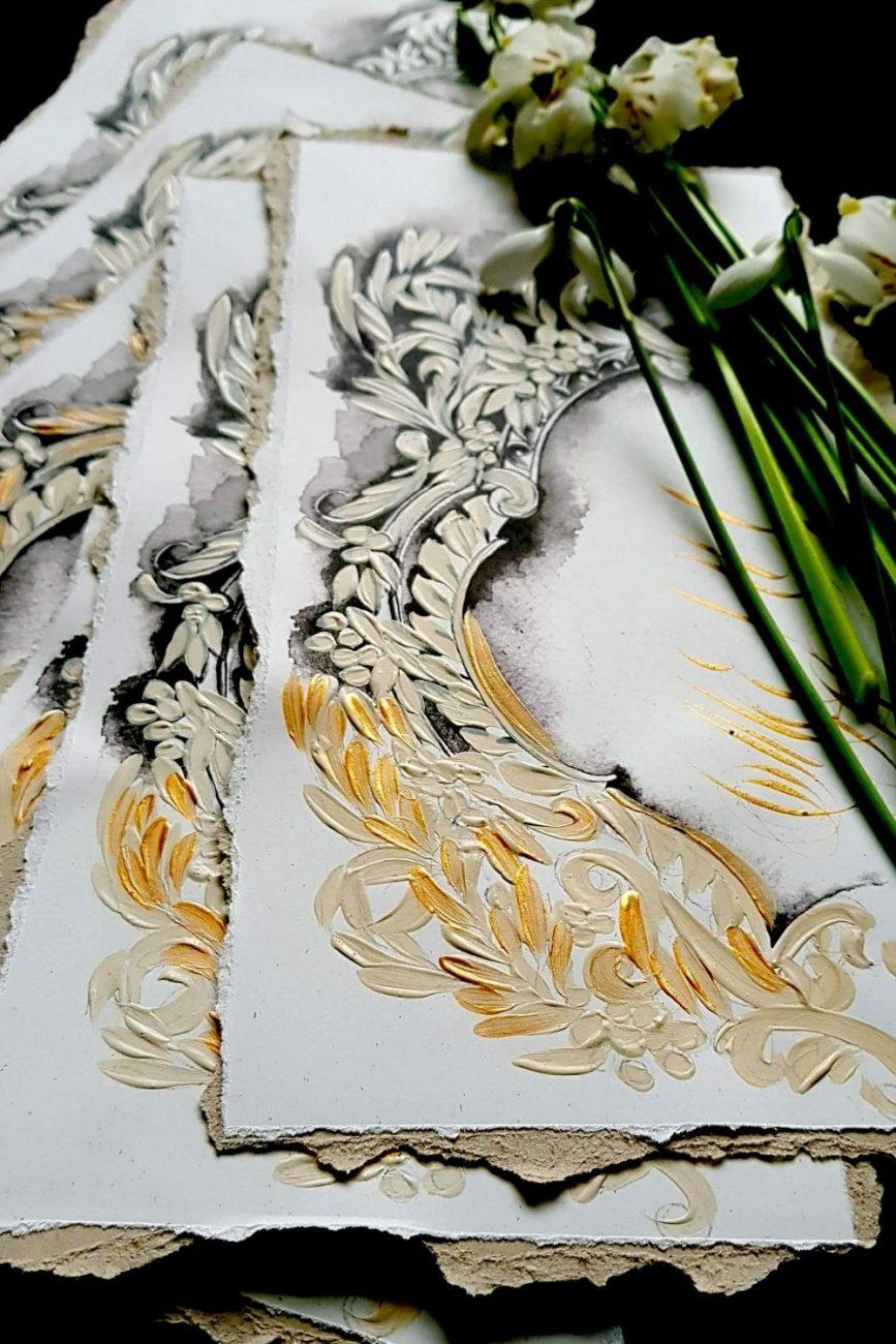 Luxury and elegant monochromatic artistic wedding menu design for a refined classical wedding